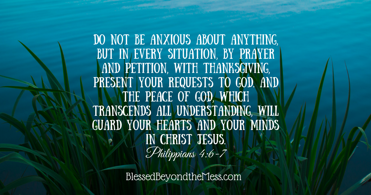Do not be anxious about anything. Relax and let God be God.