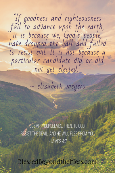"""If goodness and righteousness fail to advance upon the earth, it is because we, God's people, have dropped the ball and failed to resist evil. It is not because a particular candidate did or did not get elected."" ~ elizabeth meyers"