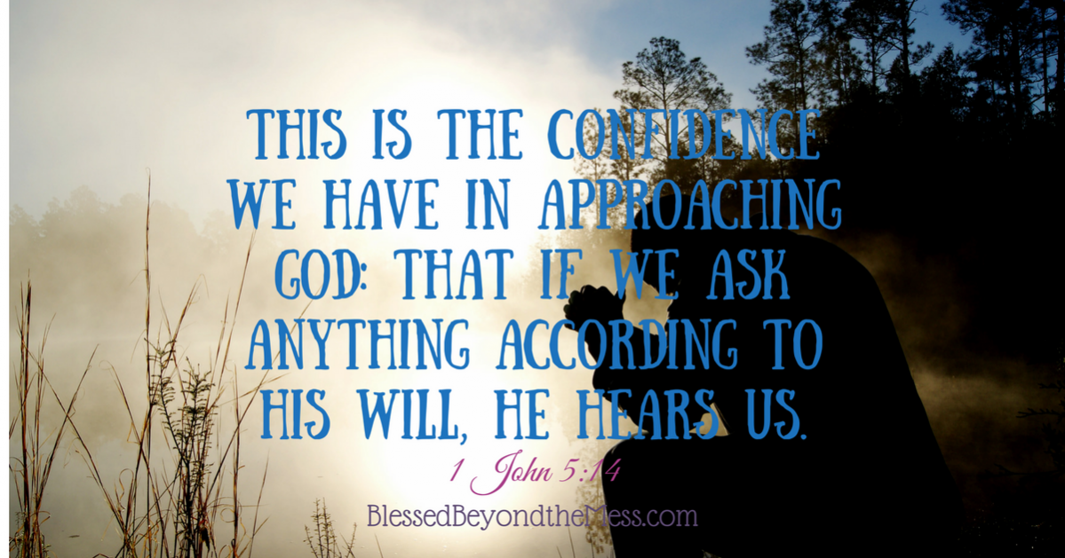 This is the confidence we have in approaching God: that if we ask anything according to his will, he hears us. 1 John 5:14