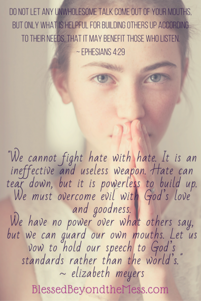 """We cannot fight hate with hate. It is an ineffective and useless weapon. Hate can tear down, but it is powerless to build up. We must overcome evil with God's love and goodness."